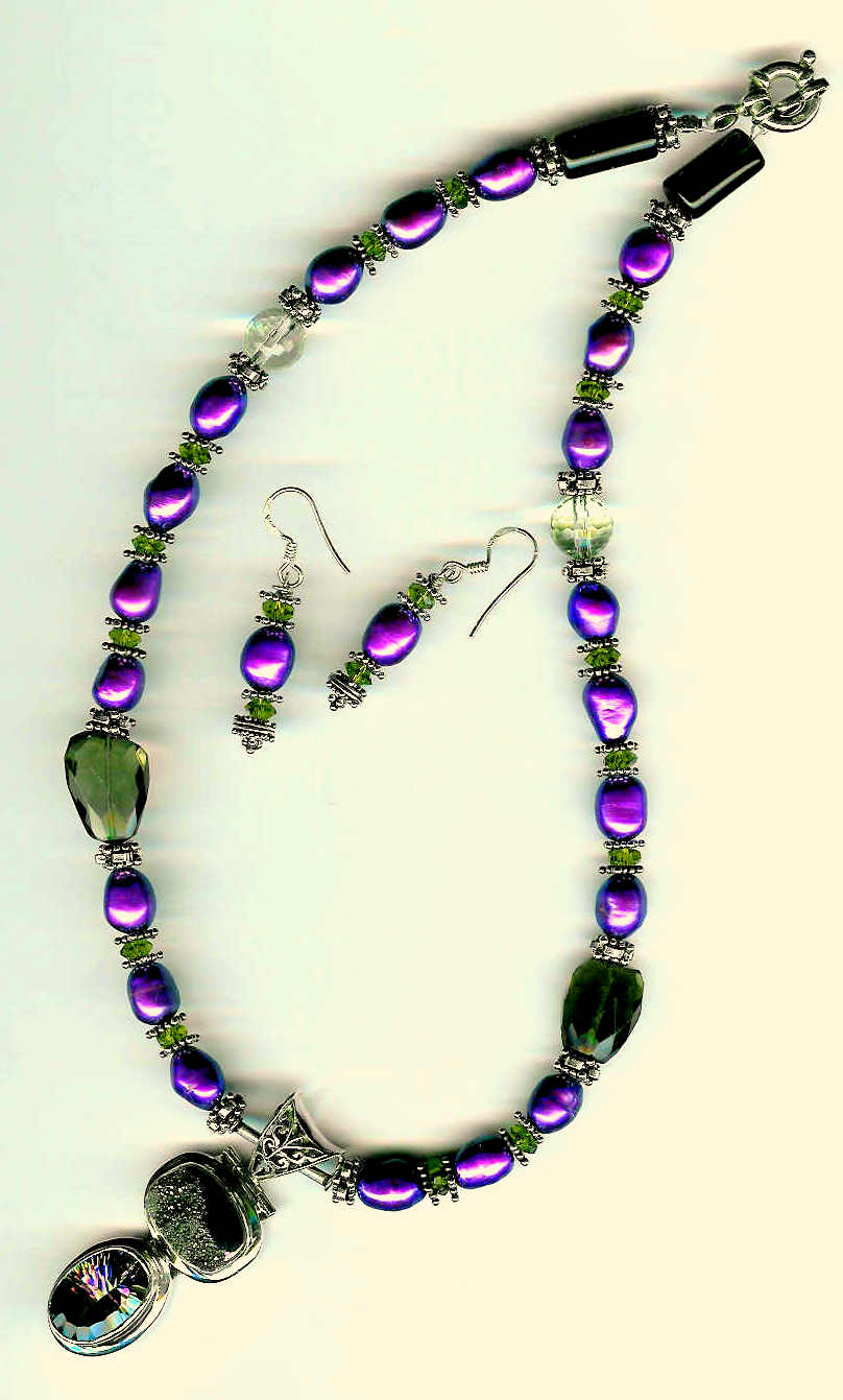 32. Mystic Topaz, Pendant, Smokey Topaz with Freshwater Pearls + Bali Sterling Silver