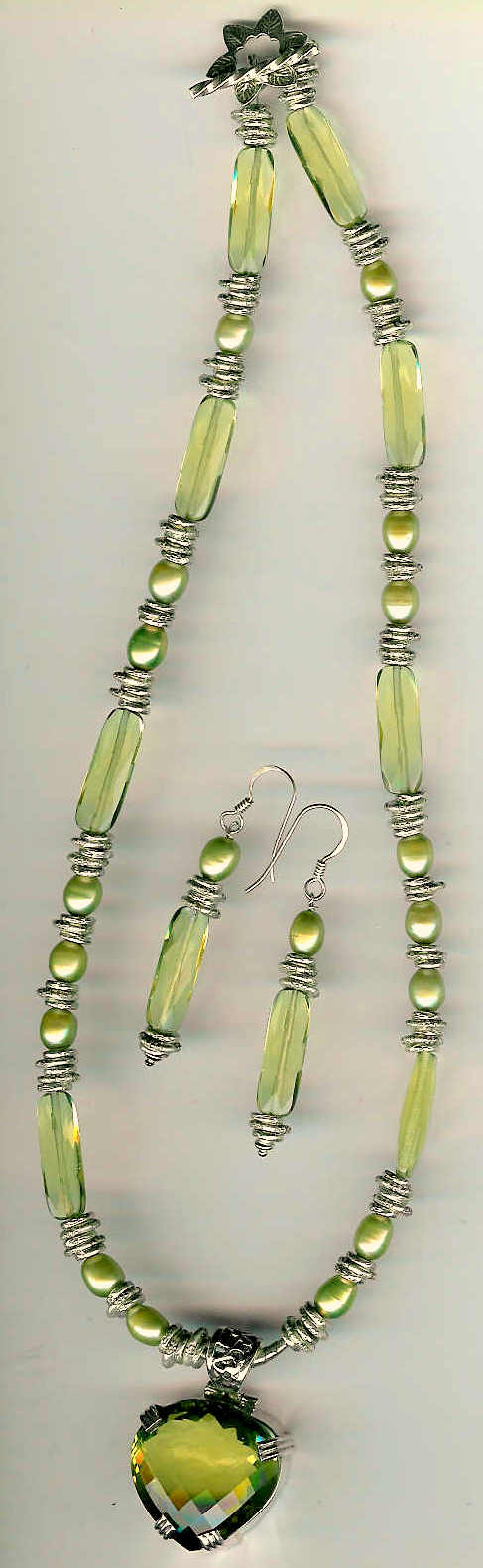 9. Lemon Topaz Pendant, Yellow Crystals, Green Pearls with Karen Hill Sterling Silver + Earrings