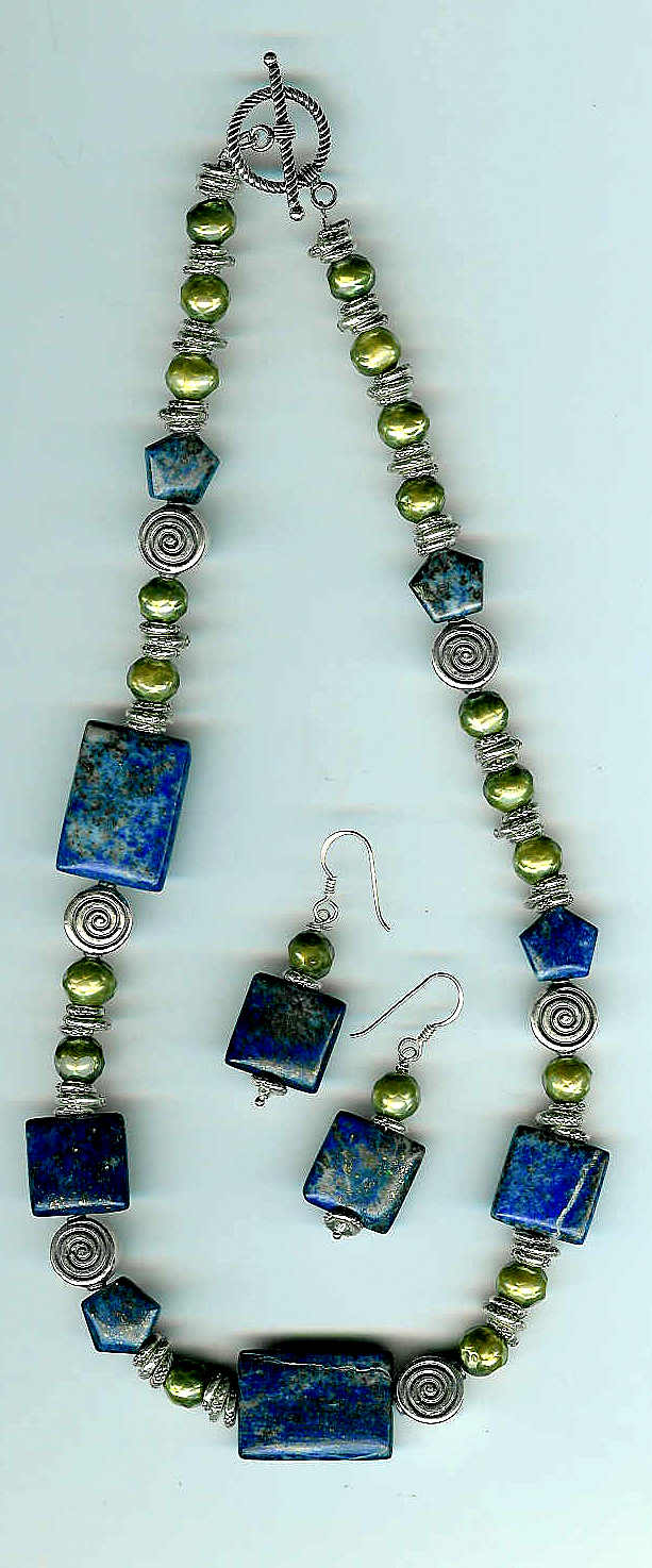 43. Lapis Lazuli with Faceted Green Freshwater Pearls with Bali Sterling Silver + Earrings