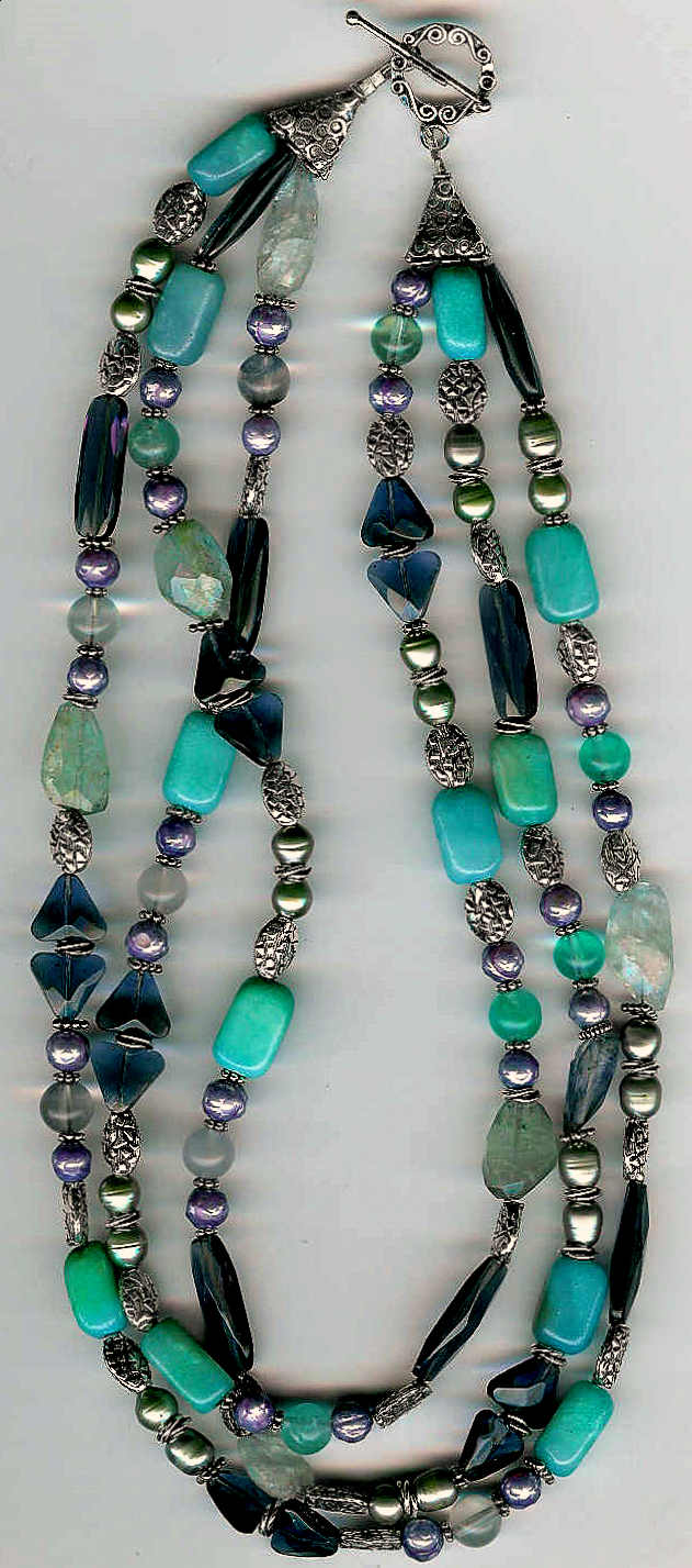 22. Aventurine, Freshwarer Pearls, Crystals, Green Amethysts and Bali Sterling Silver
