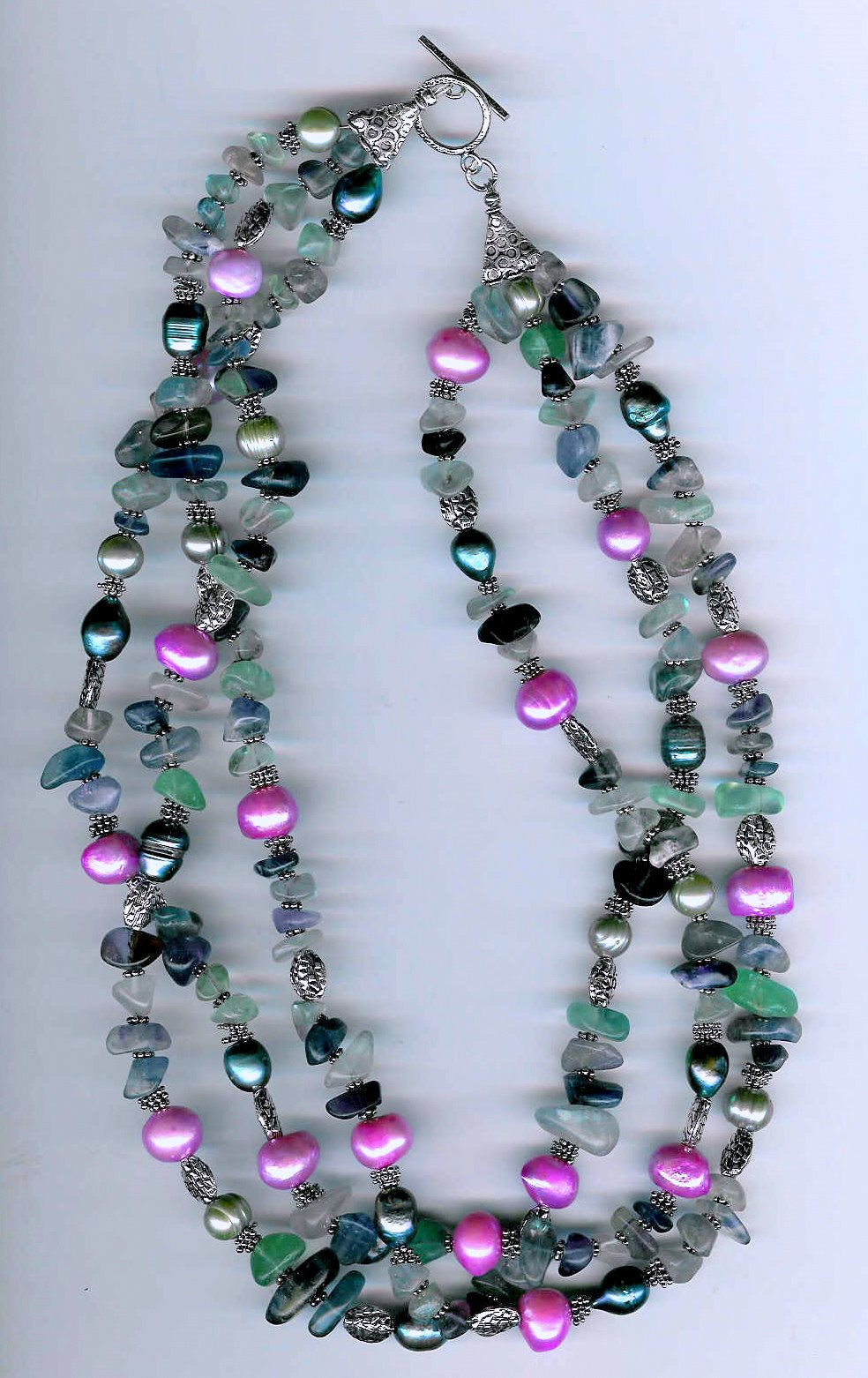 11. Fluorite, Crystals, Freshwater multi-coloured Pearls with Bali Sterling Silver
