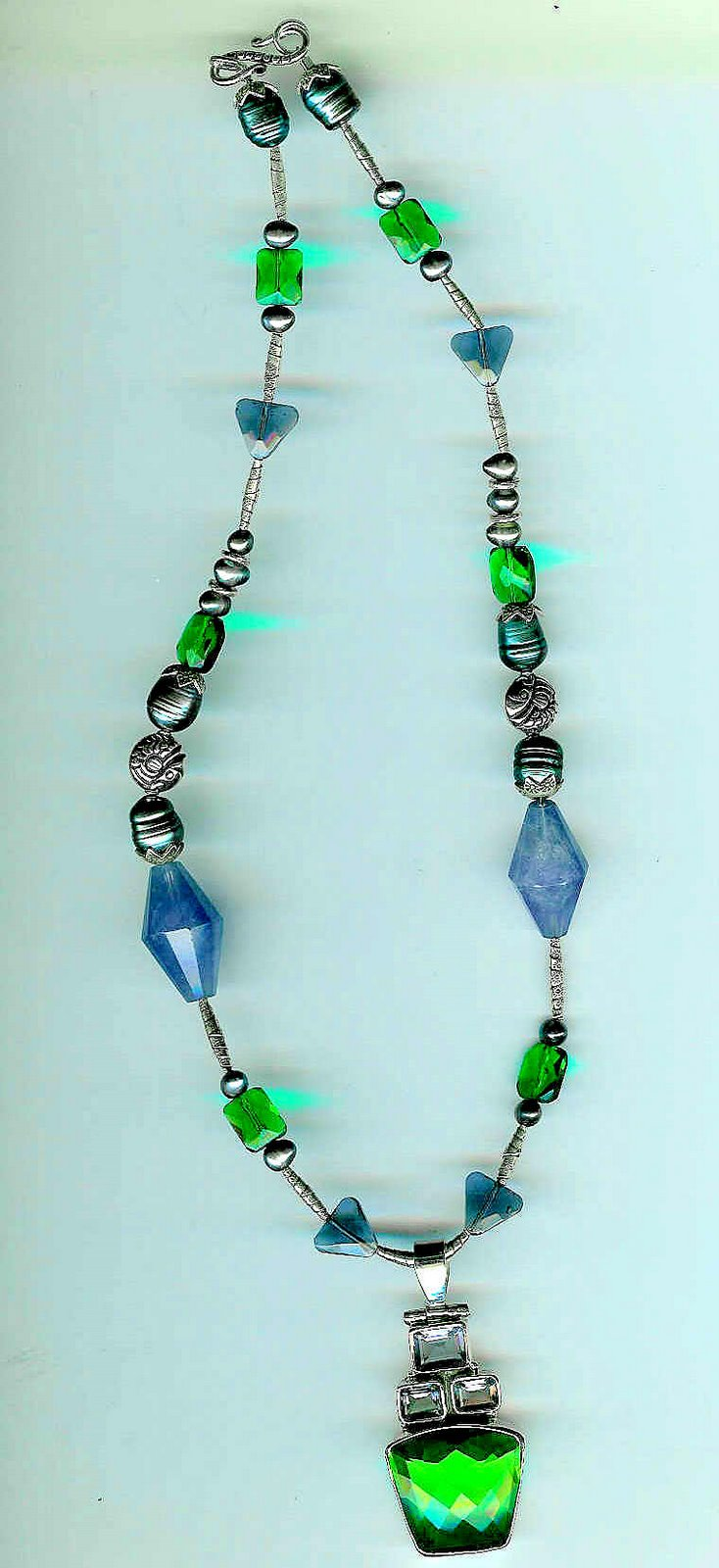 23. Green Crystal Pendant, Amethysts, Crystals and Karen Hill Thai Sterling Silver
