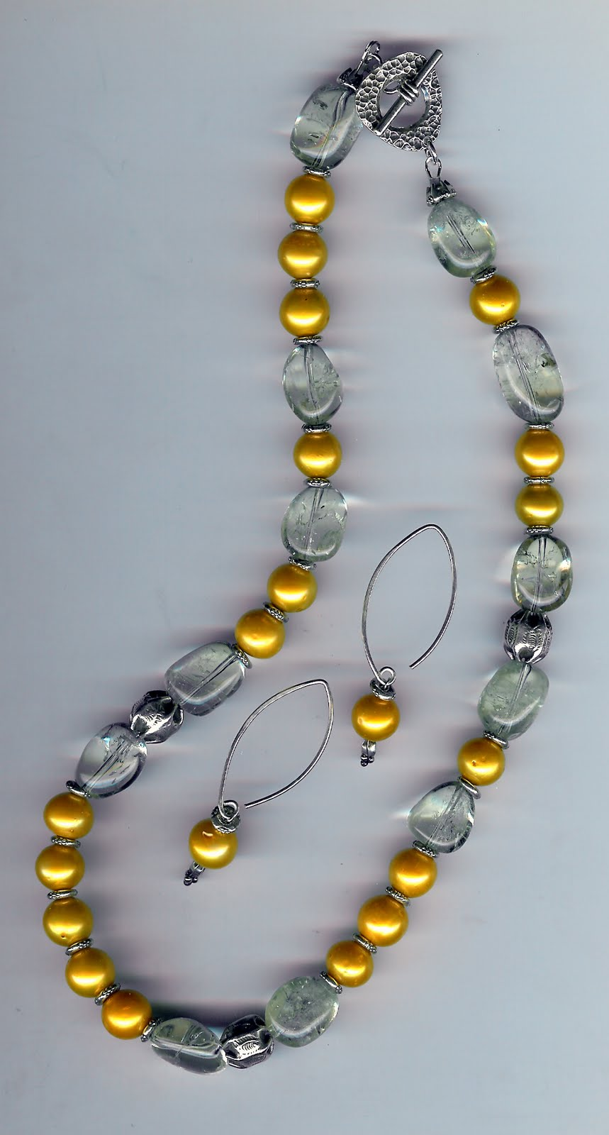 128. Akoya pearls with Citrine and Karen Hill Thai Sterling Silver + Earrings