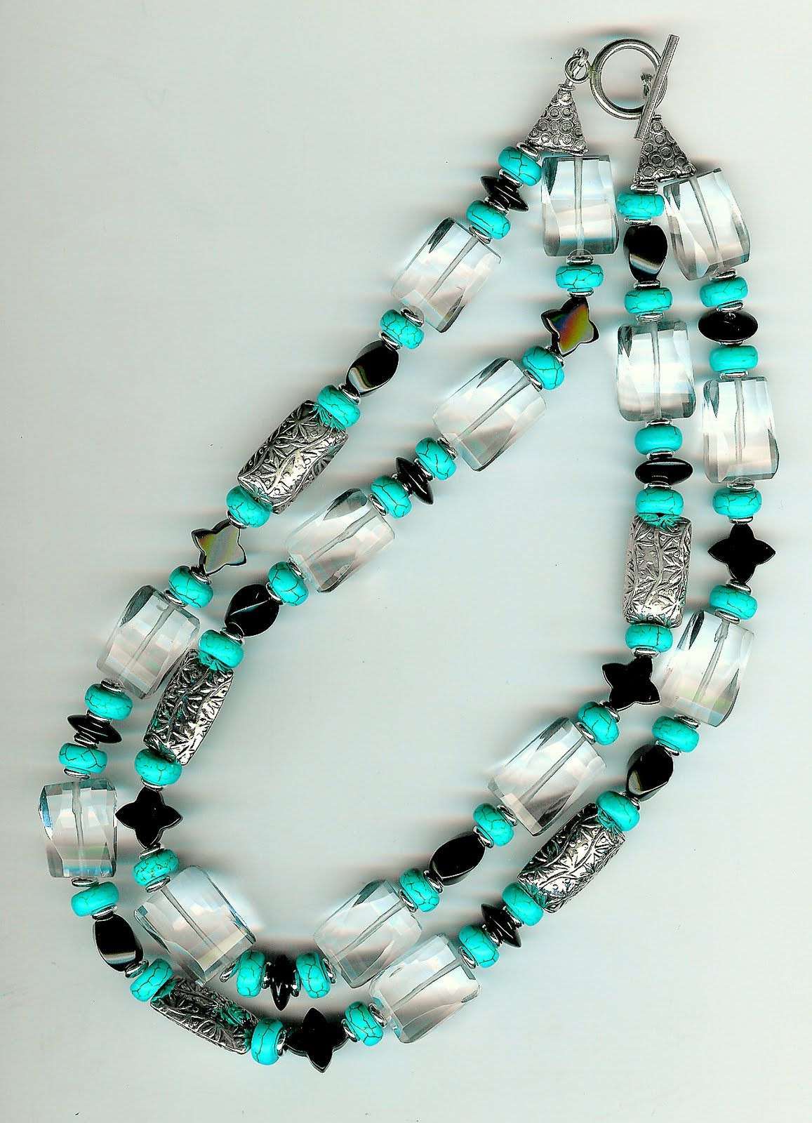 135. Clear Fluorite, Carved Onyx, Turquoise with Bali Sterling Silver