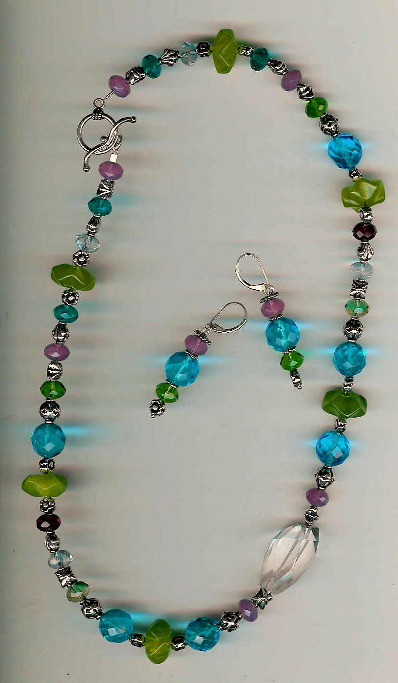42. Jade, multi-coloured Crytals with Bali Sterling SIlver + Earrings