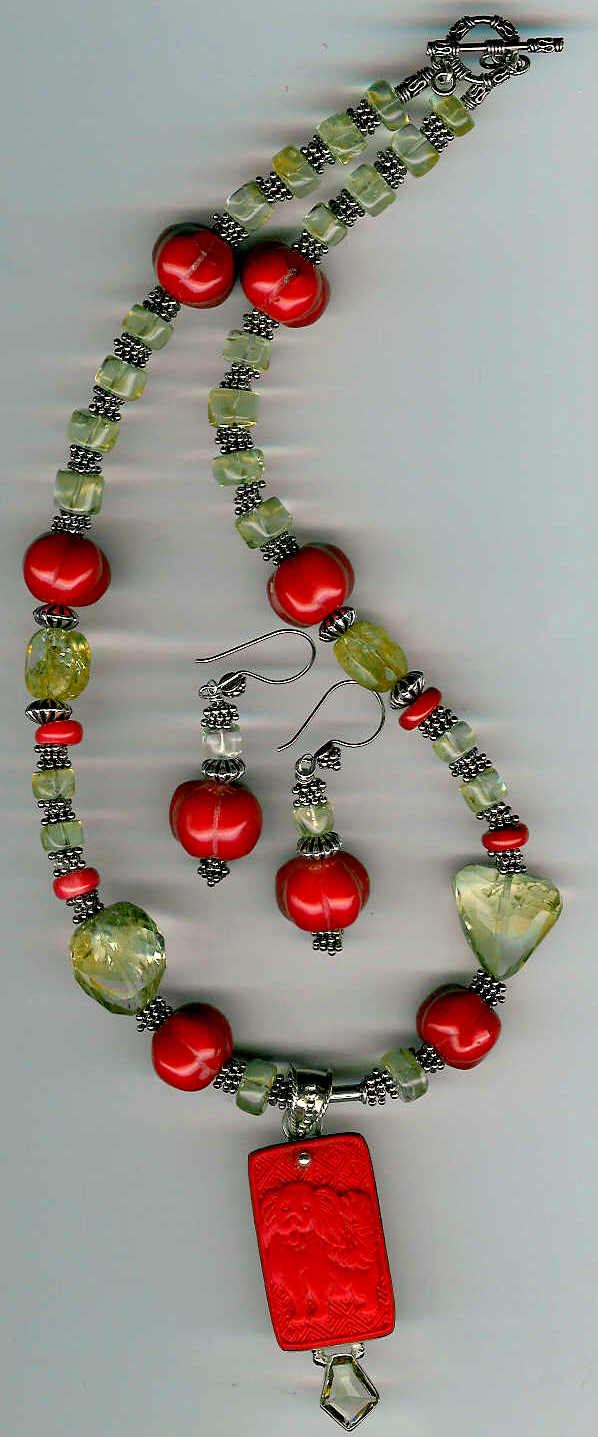 49. Carved Coral with Citrine Pendant, Citrine and Coral with Bali Sterling Silver + Earrings
