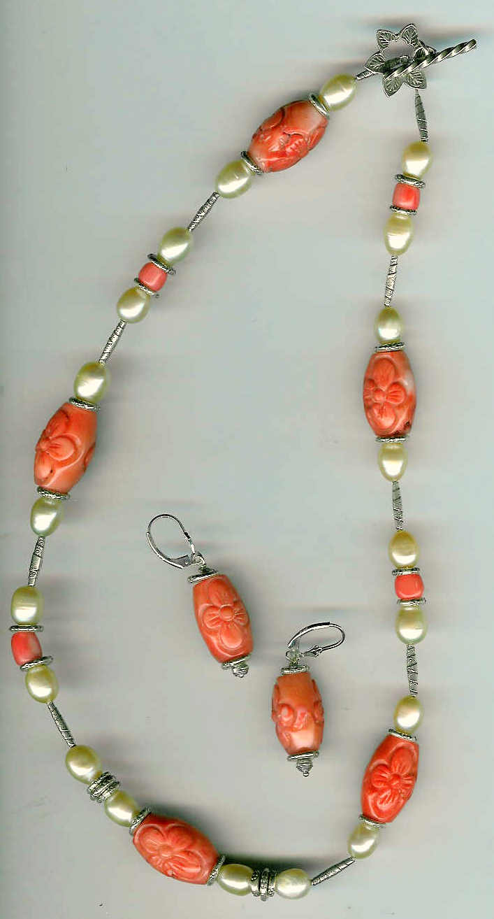 51. Carved Coral, Freshwater pearls with Karen Hill Thai Sterling Silver + Earrings