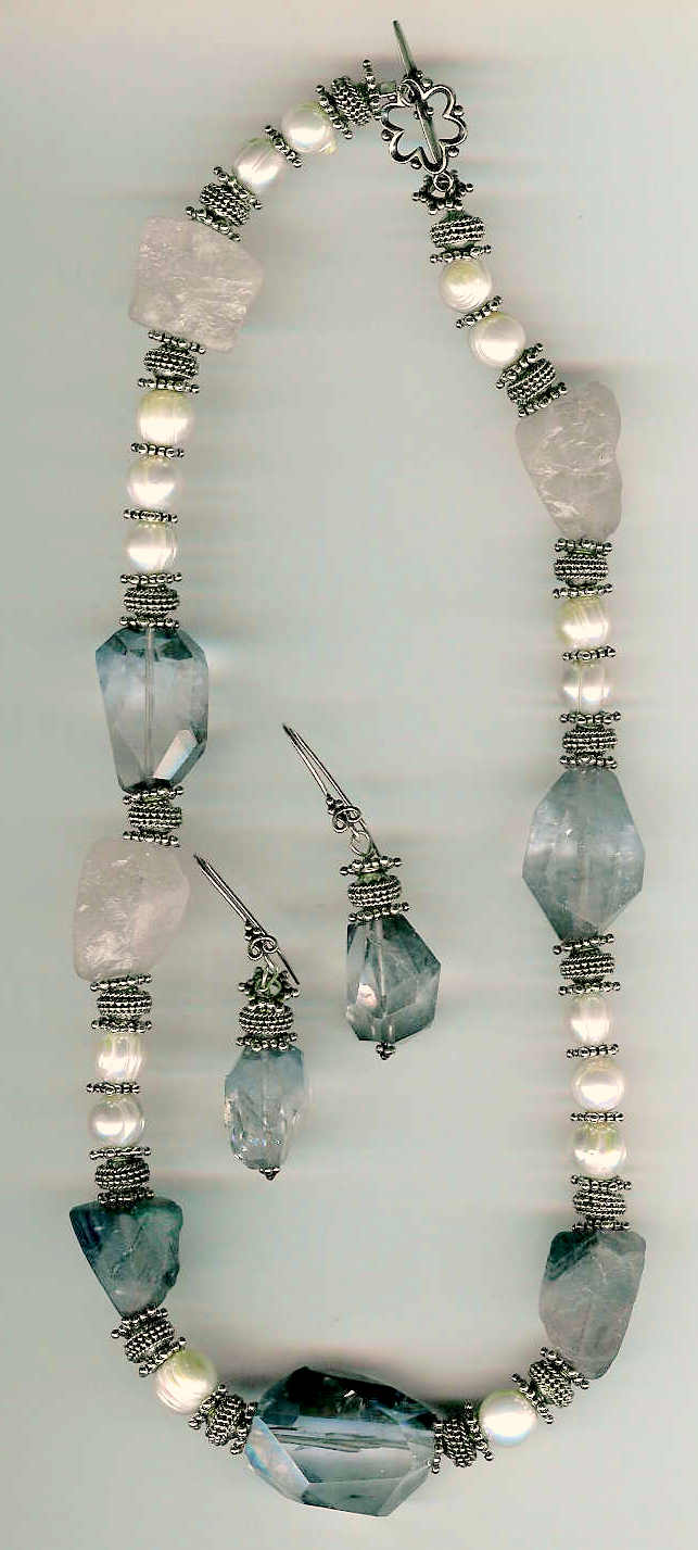 56. Rough Rose quartz, Fluorite, freshwater pearls with Bali Sterling Silver + Earrings