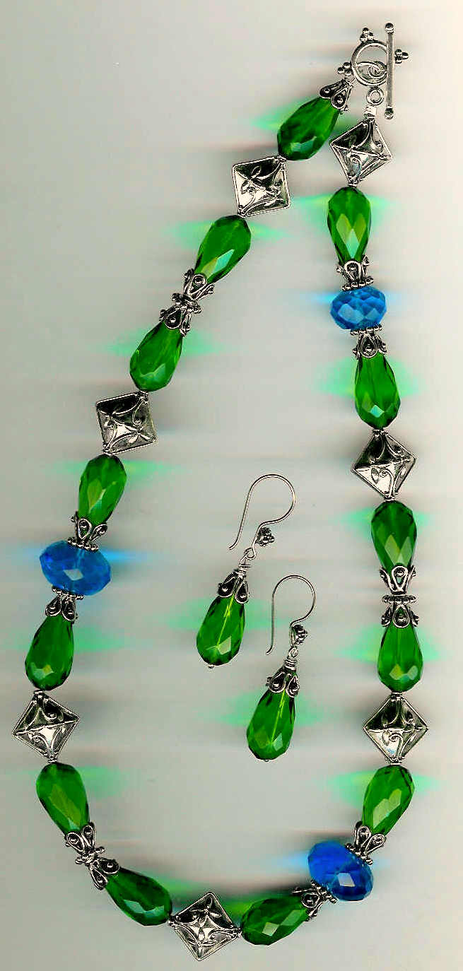 58. Crystals with Bali Sterling Silver + Earrings