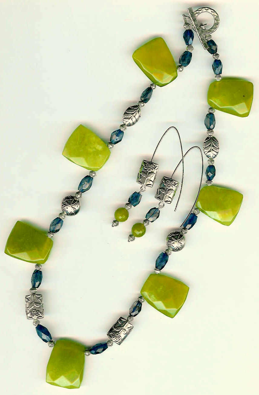 60. Jade Trapezoid, Iolite with Bali Sterling Silver + Earrings