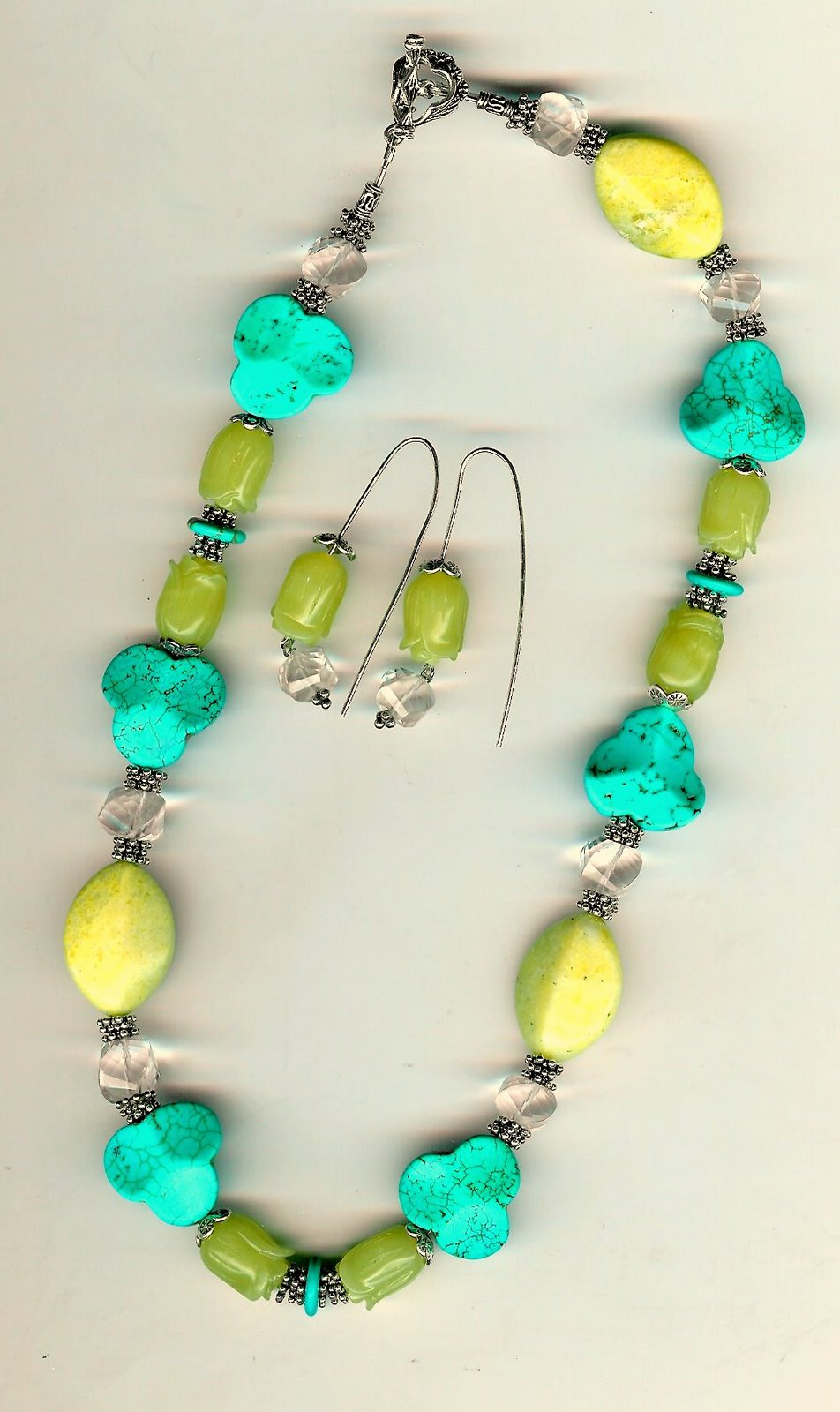 108. Carved Jade, Turquoise, Topaz with Bali Sterling Silver + Earrings