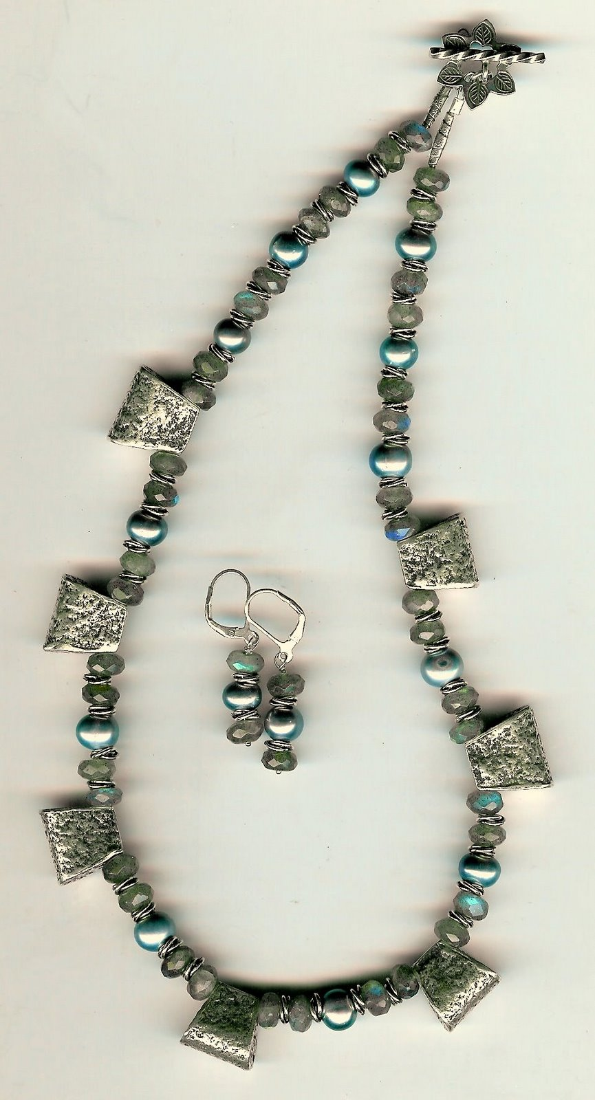 118. Faceted Labradorite, Freshwater pearls with Bali Sterling Silver