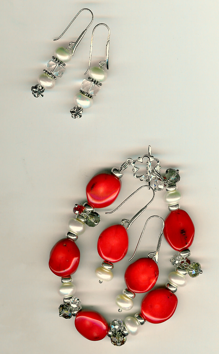 170. Coral, Crystals and Freshwater pearl Bracelet with Bali Sterling Siver + Earrings