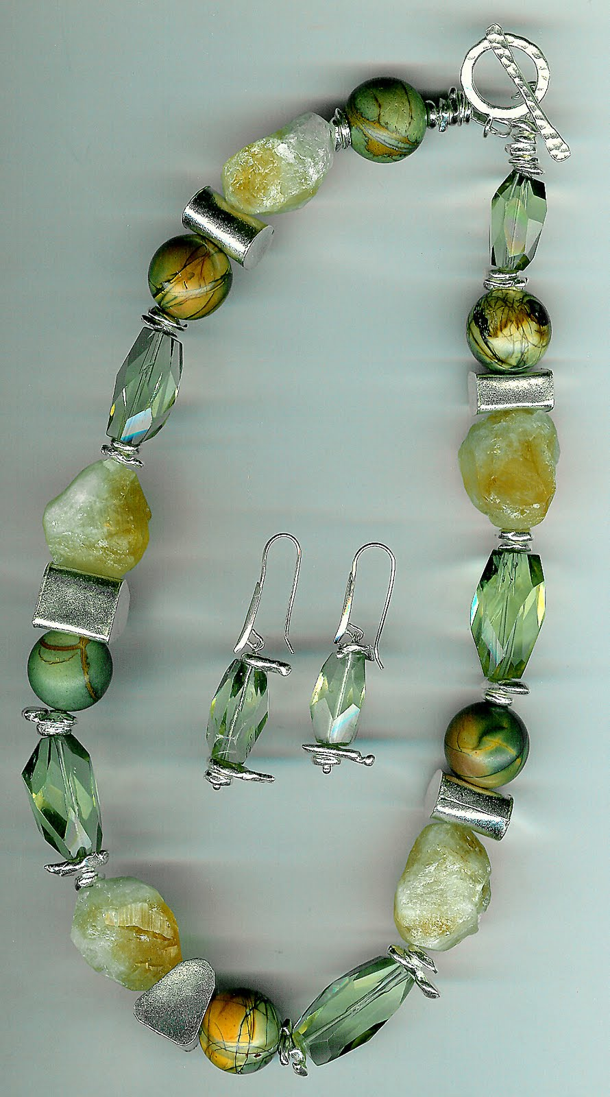 171. Jasper, Rough and faceted citrine with Karen Hill Thai Sterling Silver + Earrings