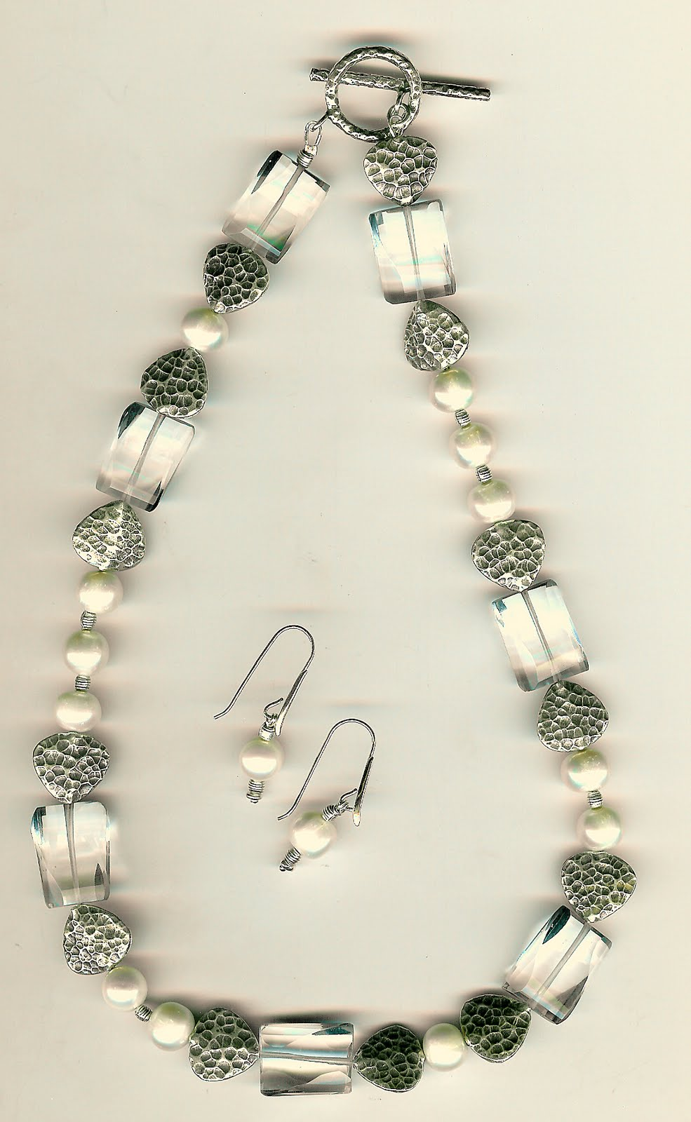 197. Akoya Pearls, Clear Fluorite, Thai Sterling Silver + Earrings