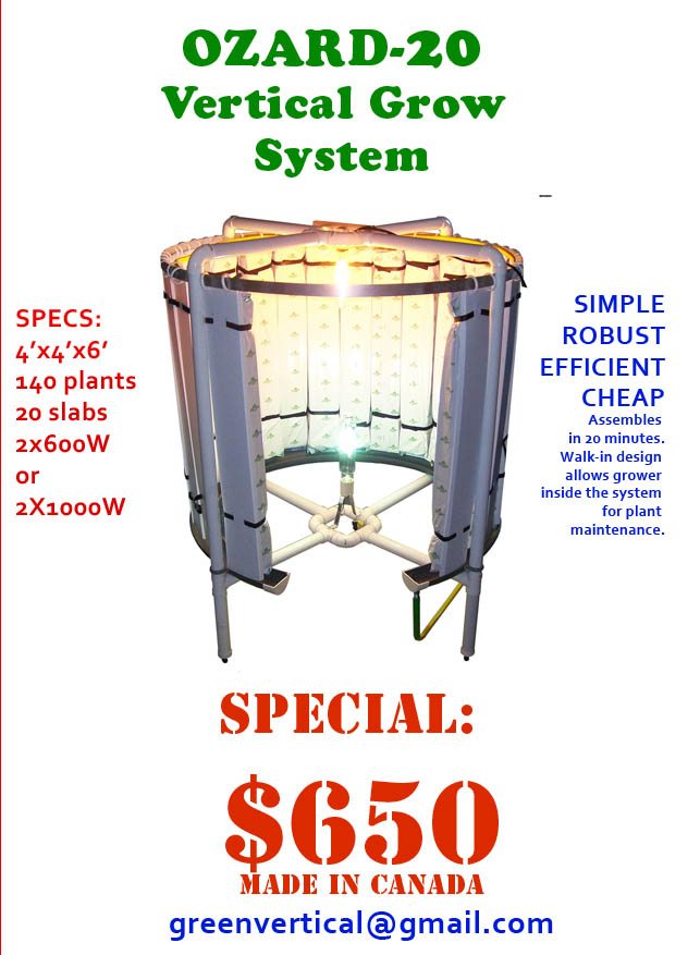 Vertical hydroponic system montreal hydroponic store grow for Vertical planting system