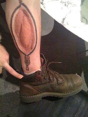 Zipper Around Scar Tattoo
