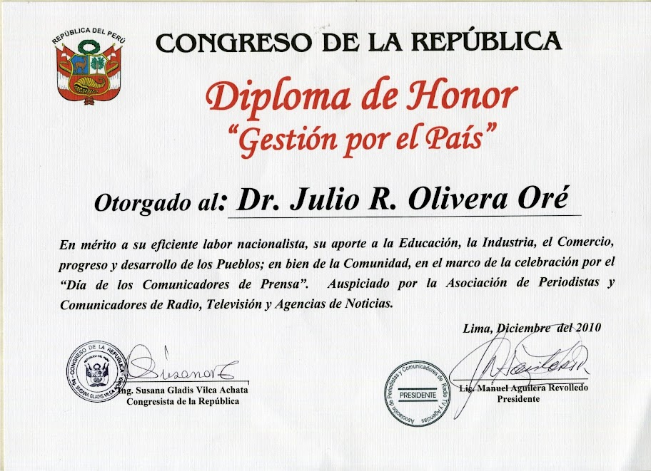 ... Oré: Congreso de la Republica Diploma de Honor