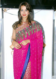 Sanjana spotted in Pink Saree at opening of Neerus Shopping Mall Stunning Beauty