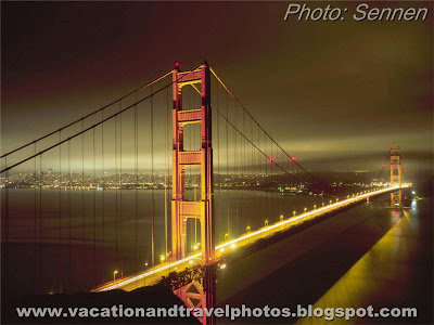 Golden Gate at Night, San Francisco, California, USA