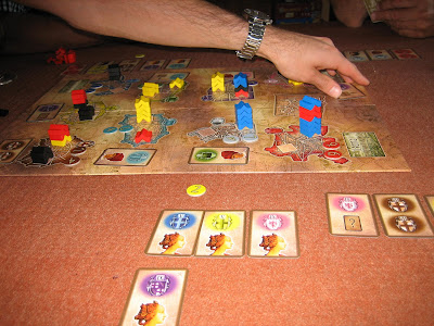 A close up of the Patrician board and cards, from an earlier game!