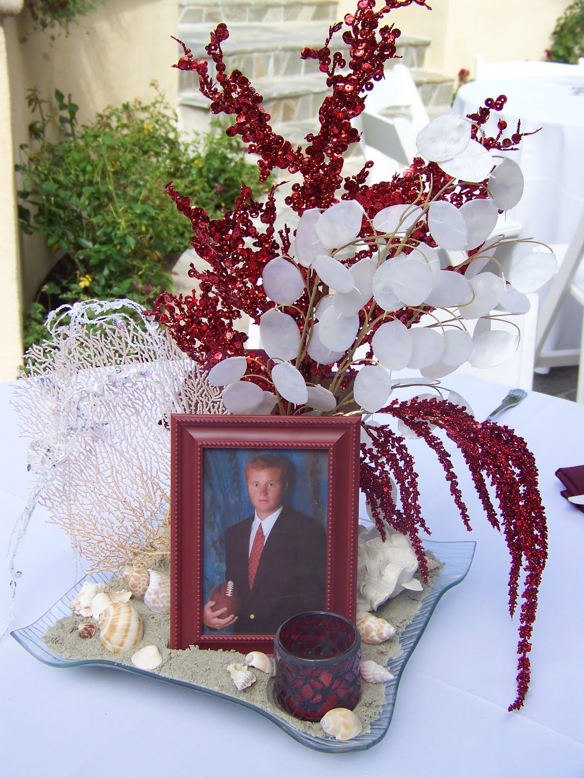 Plumeria cake studio graduation party centerpieces