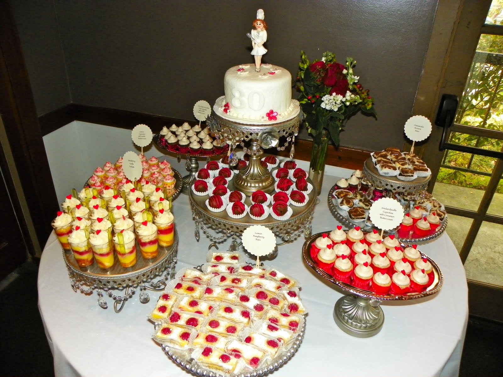 Plumeria cake studio 80th birthday dessert buffet for 80th birthday decoration ideas