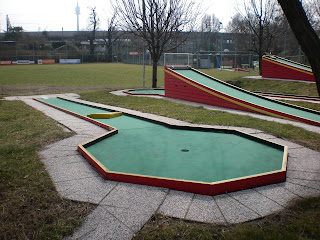Swedish Felt minigolf course at the Askoe Wien Wasserpark in Vienna, Austria