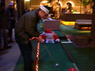 Christmas-themed Crazy Golf course at Devonshire Square in London