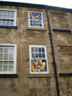 Civil War artwork on a building in Knaresborough