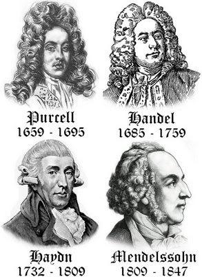 Purcell, Handel, Haydn and Mendelssohn.