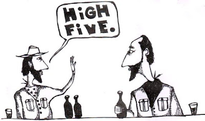 high five, cowboys, cartoon, comic