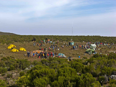 Looking back to Simba Camp on the Shira plateau