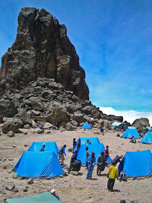 The camp in the shadow of Lava Tower on Kilimanjaro