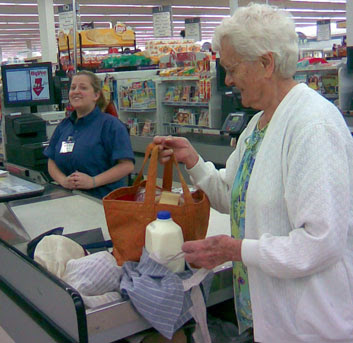 you wanted a picture of aunt frances  so we went shopping with two of her