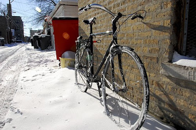 Image of snowy bicycle
