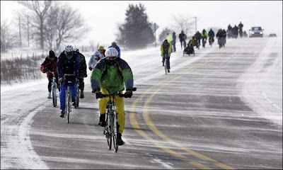Image of bicyclists on cold ride in Iowa