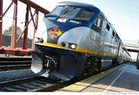 Image of Amtrak Capitol Corridor locomotive near Hayward, California