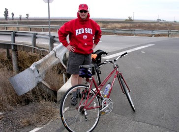 Image of Paul Dorn in Red Sox sweatshirt near Davis California
