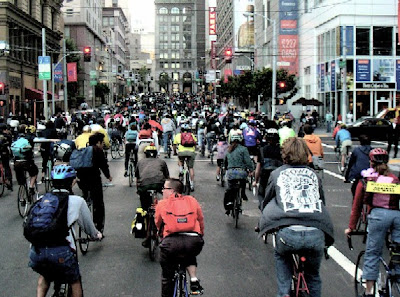 Image of Critical Mass cyclists in San Francisco