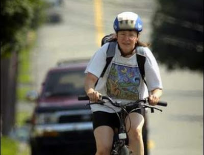 Image of bike commuter near Worcester, Massachusetts