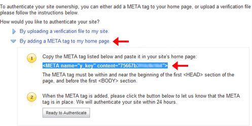Verifikasi dengan Meta Tag