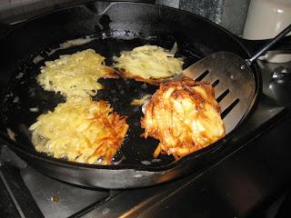 Flip potato pancakes half-way through browning
