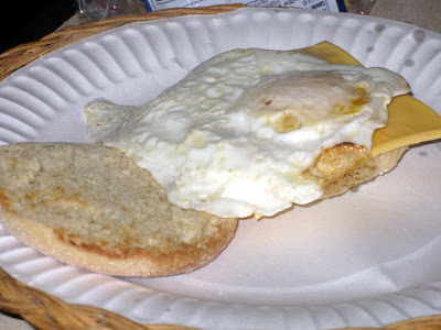 Add a fried egg on top of the cheese