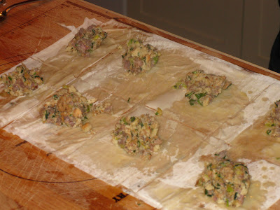 Stuffing mounded in phyllo squares