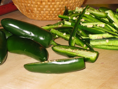 Thinly slice jalapeño chilies