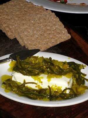 Candied Jalapeños with soft cream cheese