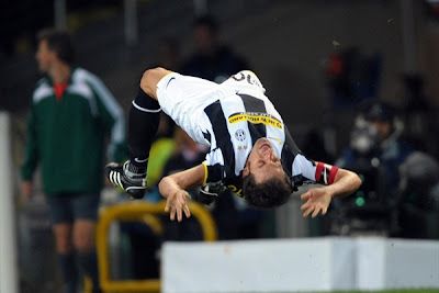 Alessandro Del Piero celebrates his free-kick winner in style