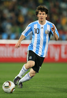 Lionel Messi of Argentina's national football team in action during 2010 FIFA World Cup South Africa Group B, Match between Argentina and Nigeria at Ellis Park Stadium on June 12 in Johannesburg, South Africa.