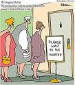Women waiting at the toilet